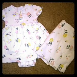 Carter's Babysoft dress and matching blanket